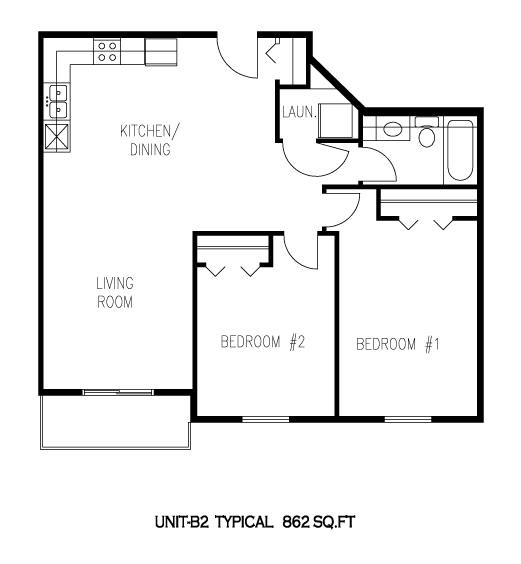 Typical Unit B2 - Tamarack Manor